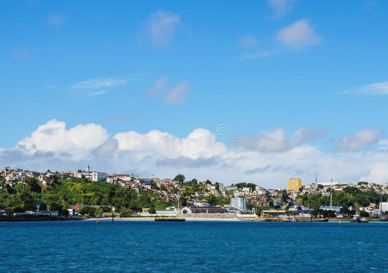 Salvador da Bahia, Brazil. City seen from the Bay of All Saints, Salvador, State of Bahia, Brazil royalty free stock image