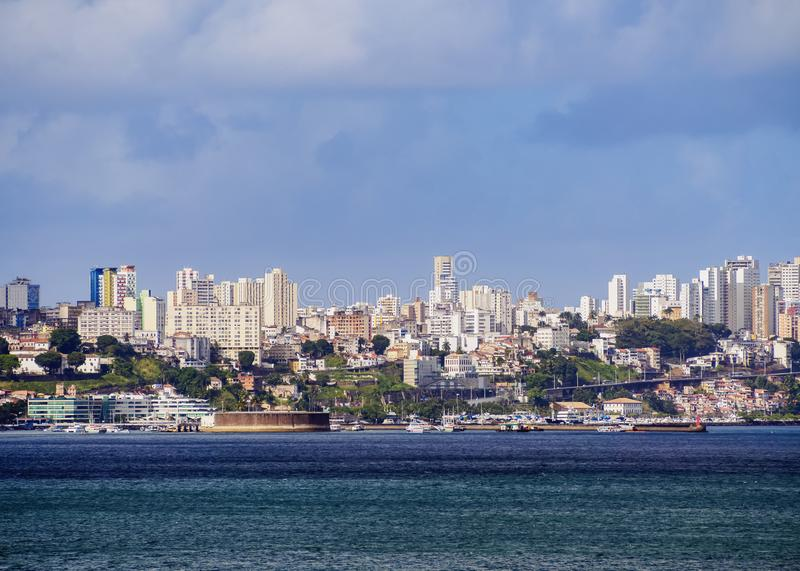 Salvador da Bahia, Brazil. City seen from the Bay of All Saints, Salvador, State of Bahia, Brazil royalty free stock photos