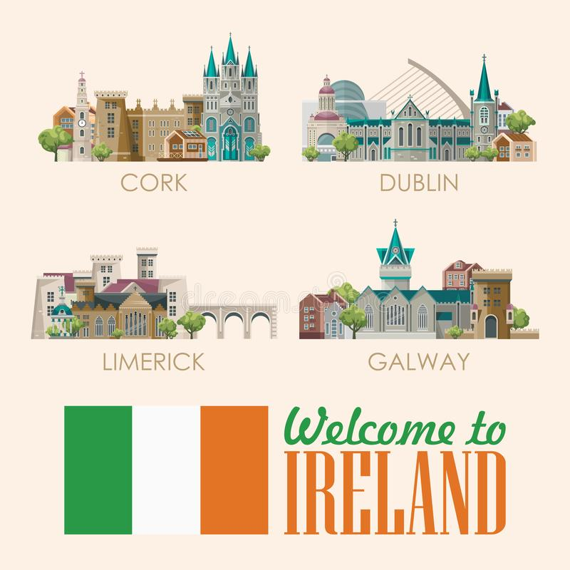 ireland vector flat design card with landmarks irish castle green fields colorful template