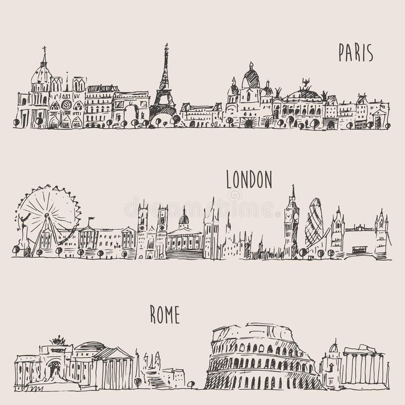 City Set London, Paris, Rome Engraved Illustration stock illustration