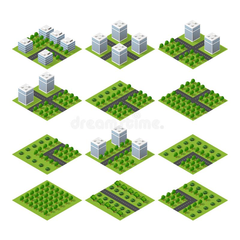 City quarter top view. City set quarter top view landscape isometric 3D projection with skyscrapers, houses and trees with park vector illustration