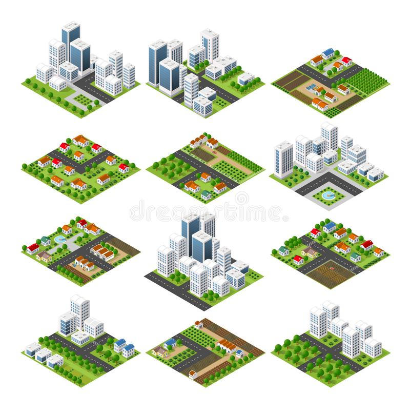City quarter top view. City set quarter top view landscape isometric 3D projection with skyscrapers, houses and trees with park stock illustration