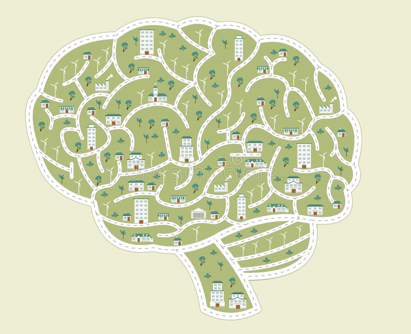 City in the shape of brain. Streets of a colorful city in the shape of brain stock illustration