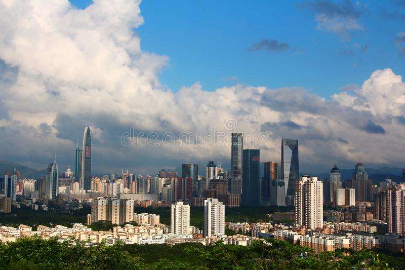 City of Shenzhen. The most vibrant city in China. View from the top of Lotus Mountain royalty free stock image