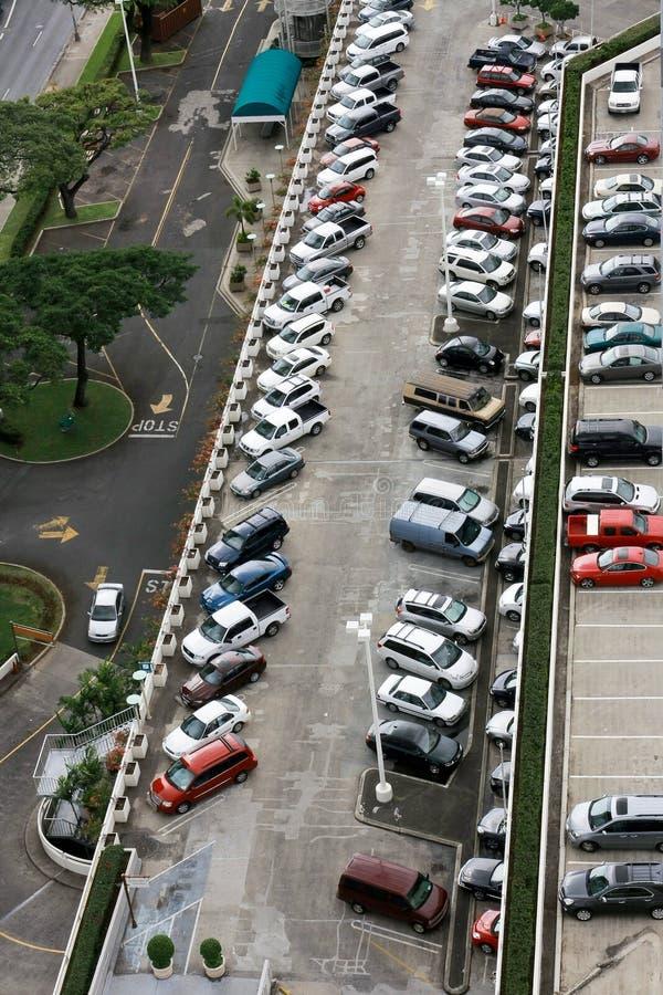 City shopping centre multi-level car park. Multi-level car park at shopping centre stock photo