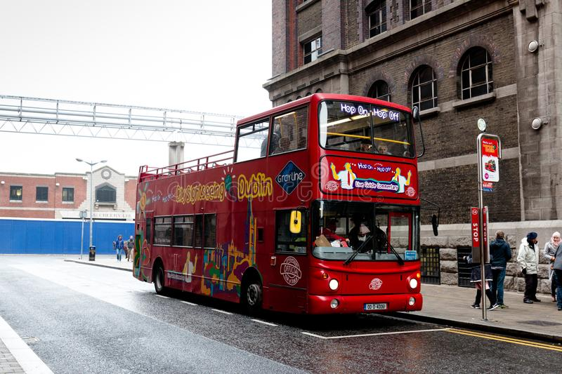 City Sightseeing Dublin famous double deck tour buses, which go around the city and stop at points of interests where people can h royalty free stock photos