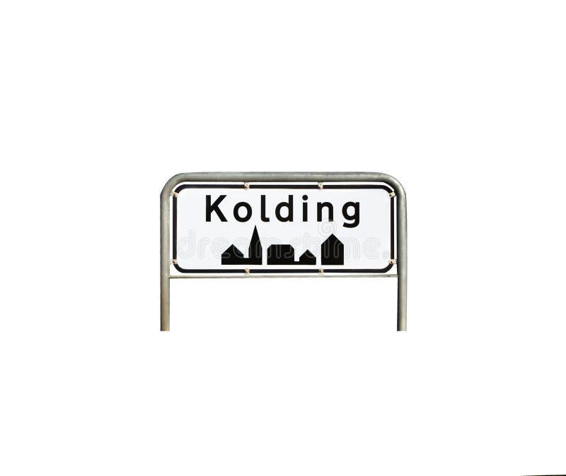City sign kolding,Denmark. Isolated city sign from Kolding in Denmark stock image