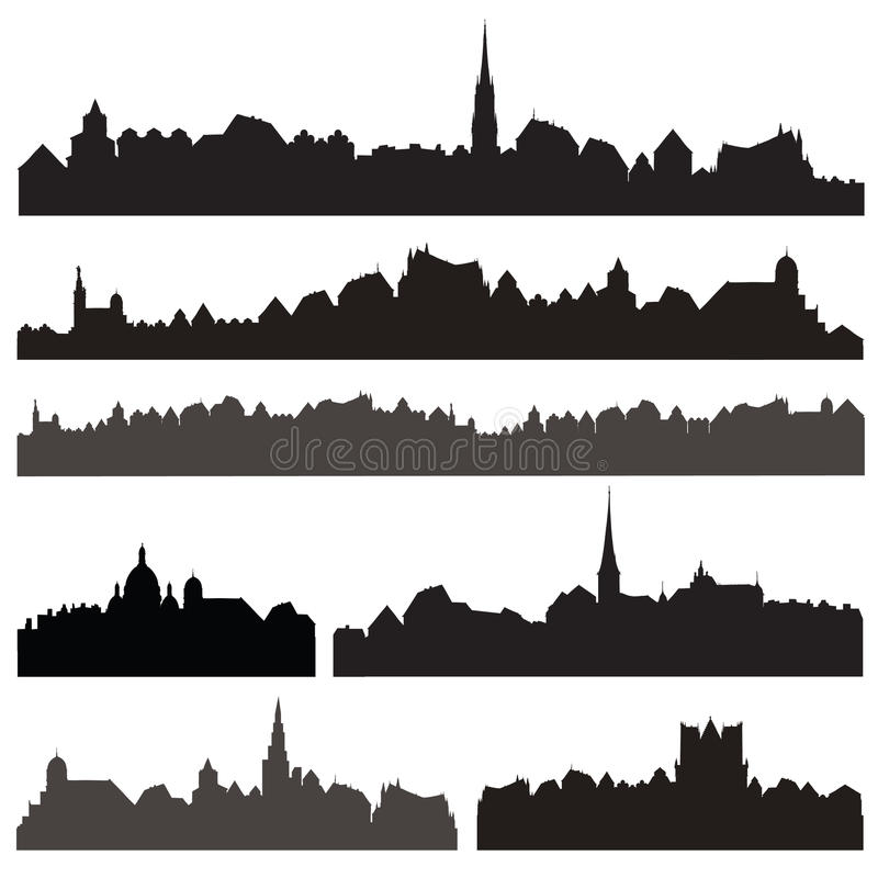 City silhouett set. European cityscape. Skyline set. Buildings s stock illustration