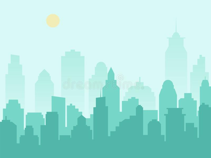 City silhouette cityscape and morning mist royalty free illustration