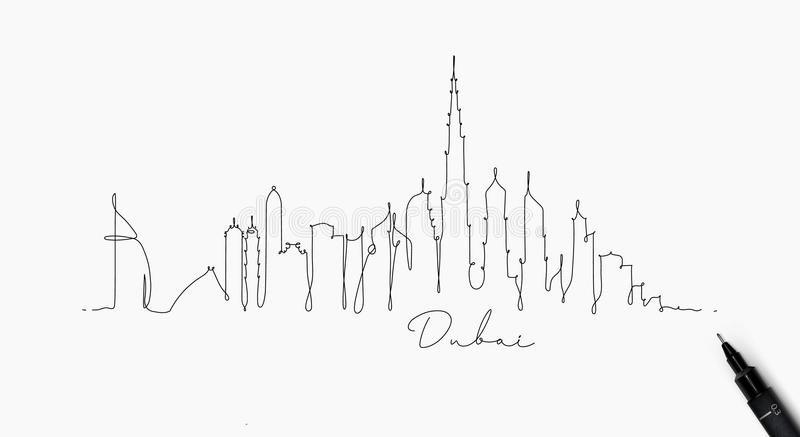 Pen line silhouette dubai. City silhouette dubai in pen line style drawing with black lines on white background royalty free illustration