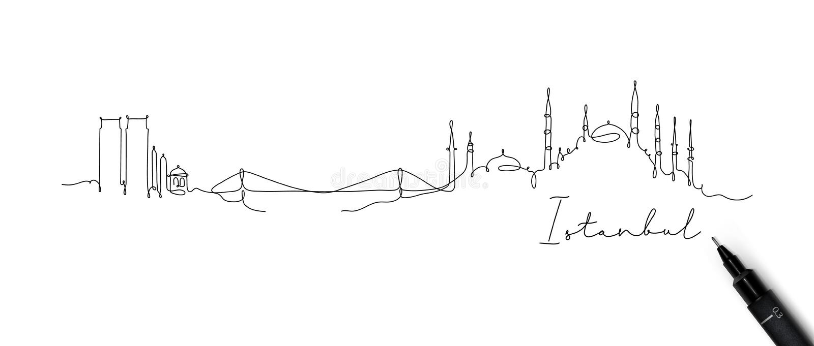 Pen line silhouette Istanbul. City silhouette Istanbul in pen line style drawing with black lines on white background vector illustration