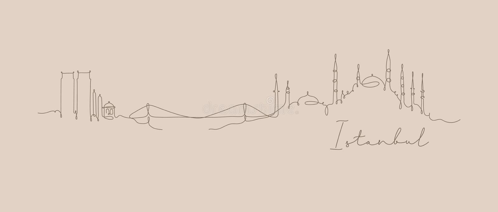 Pen line silhouette Istanbul beige. City silhouette Istanbul in pen line style drawing with brown lines on beige background stock illustration
