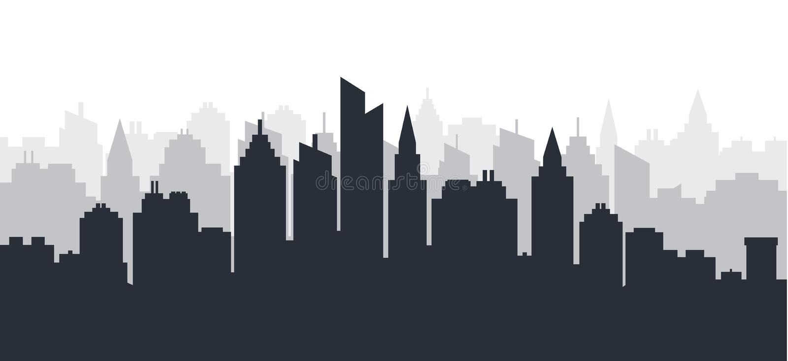 City silhouette land scape. Horizontal City landscape. Downtown Skyline with high skyscrapers. industrial panoramic royalty free illustration