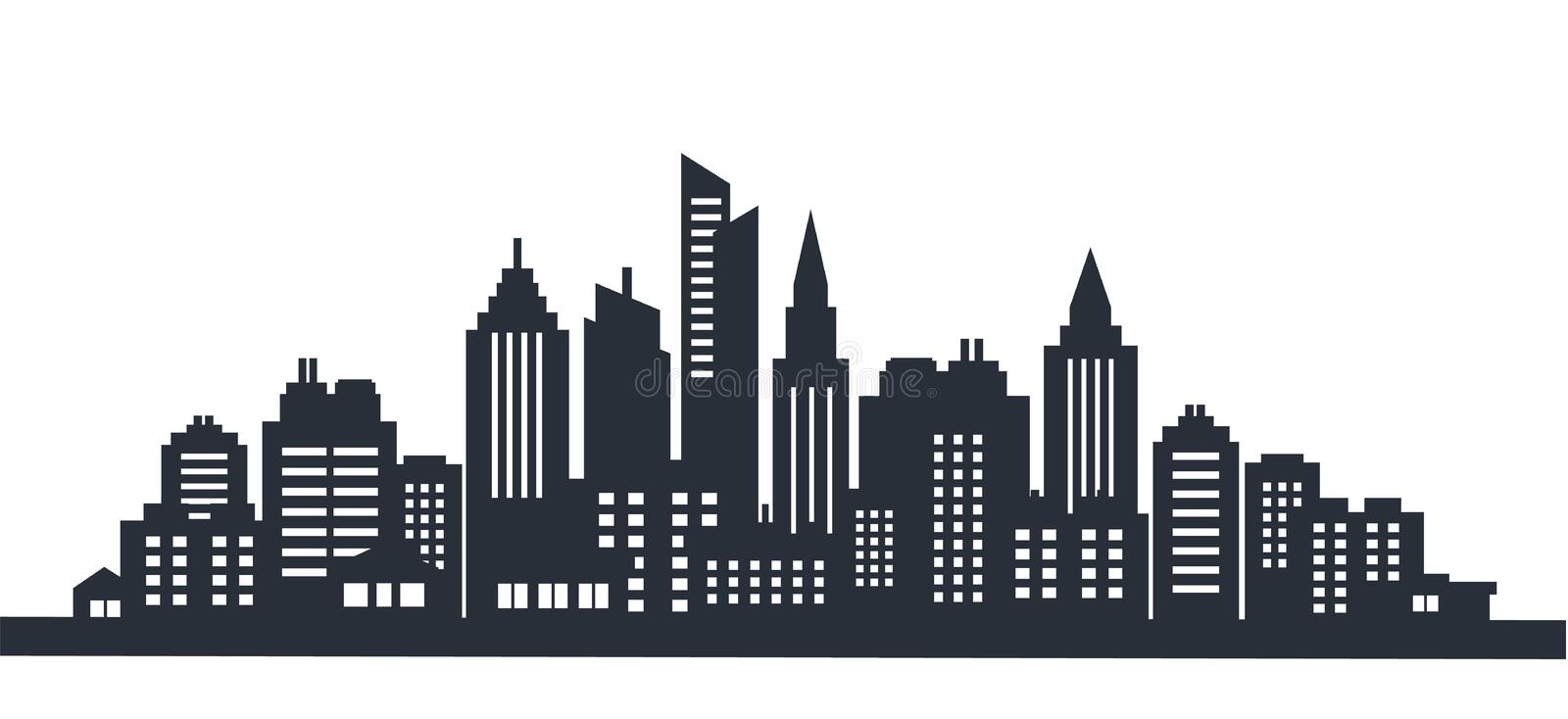 City silhouette land scape. City landscape. Downtown landscape with high skyscrapers. Panorama architecture Goverment royalty free illustration