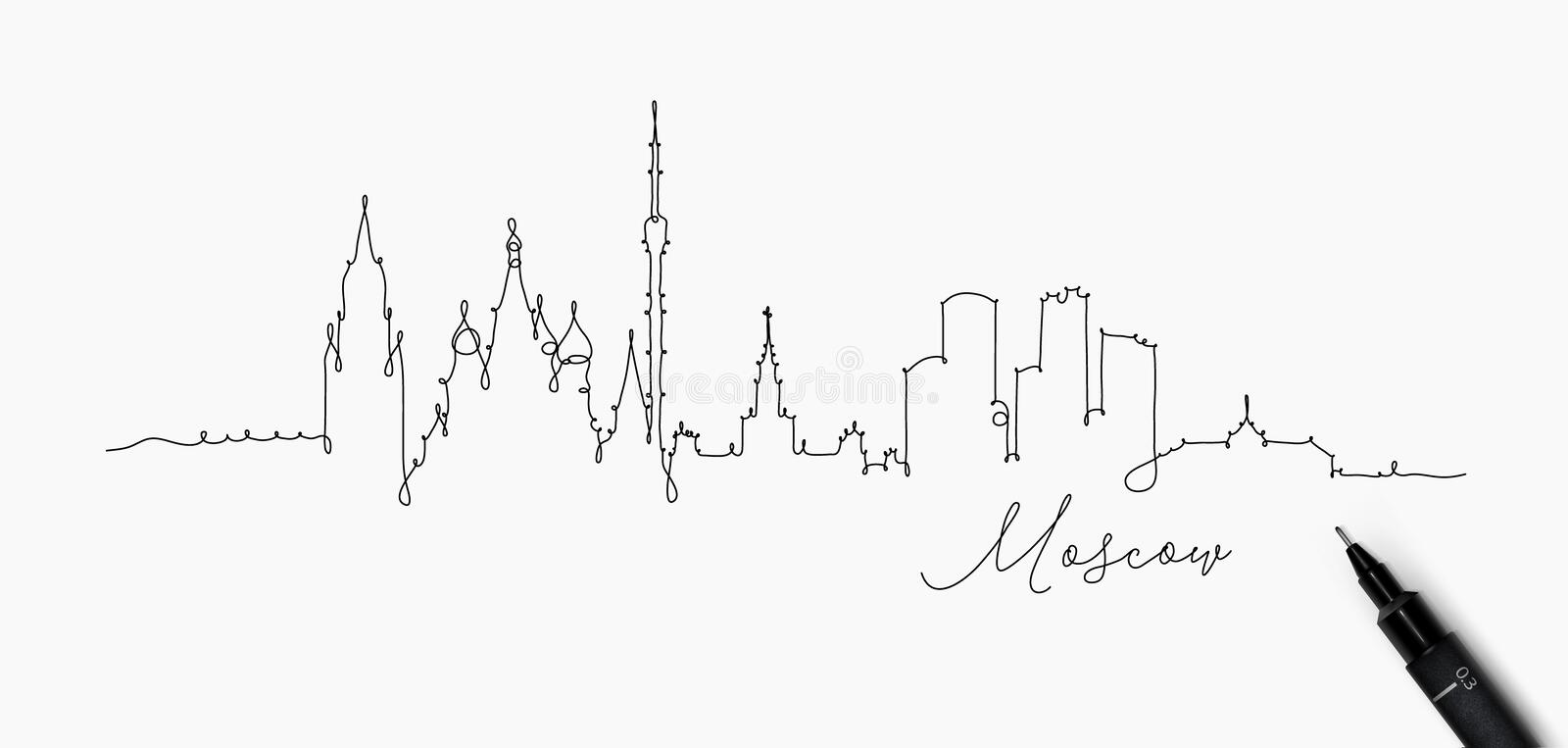 Pen line silhouette moscow. City silhouette moscow in pen line style drawing with black lines on white background royalty free illustration