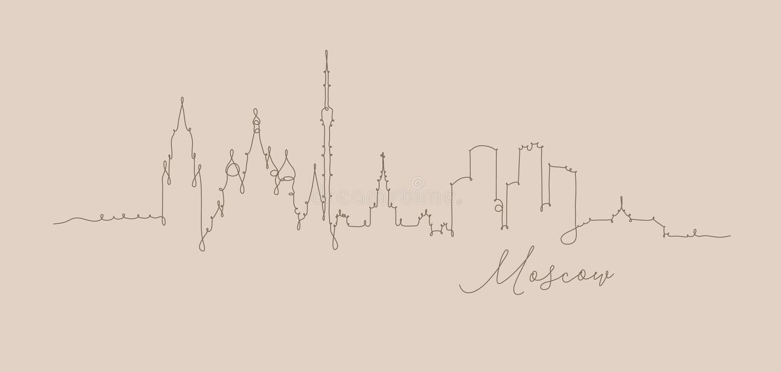 Pen line silhouette moscow beige. City silhouette moscow in pen line style drawing with brown lines on beige background vector illustration