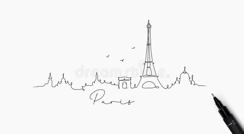 Pen line silhouette paris. City silhouette paris in pen line style drawing with black lines on white background royalty free illustration