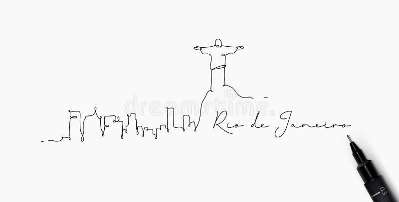 Pen line silhouette rio de janeiro. City silhouette rio de janeiro in pen line style drawing with black lines on white background vector illustration