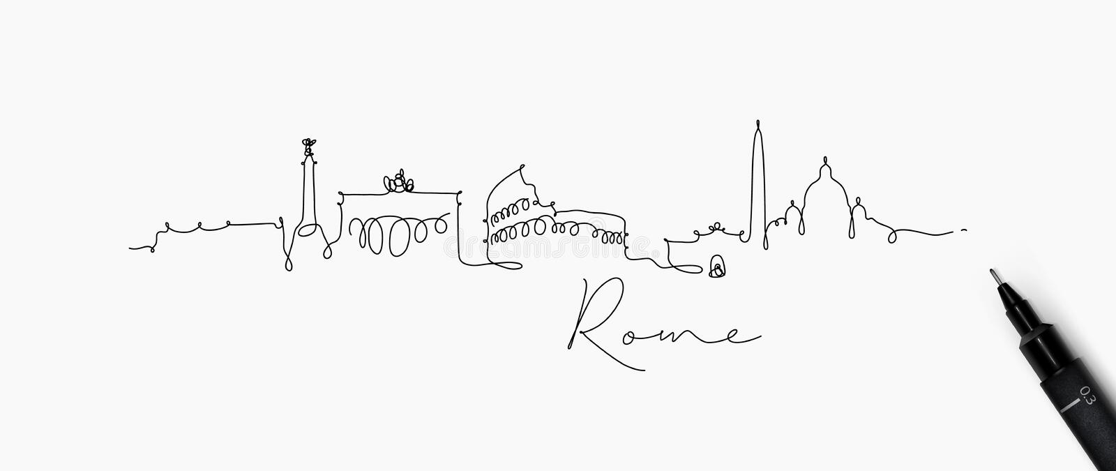 Pen line silhouette rome. City silhouette rome in pen line style drawing with black lines on white background stock illustration