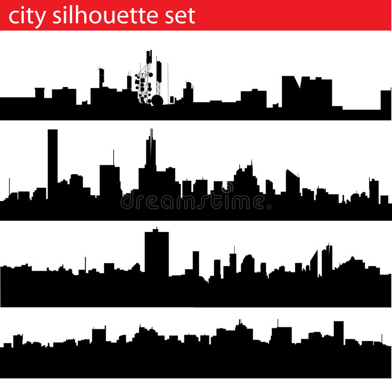 Download City silhouette set stock vector. Image of landmark, vector - 11036439