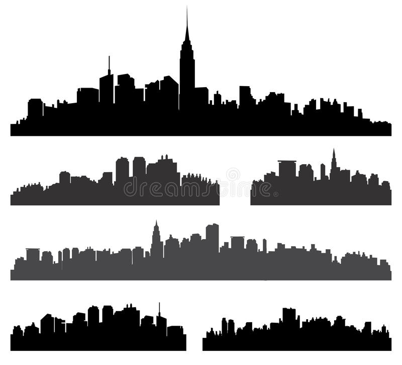 City silhouette set. New York City building silhouette set. Panorama city background. Skyline urban border collection