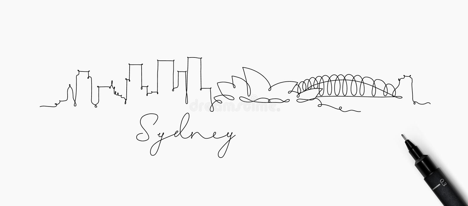 Pen line silhouette sydney. City silhouette sydney in pen line style drawing with black lines on white background royalty free illustration