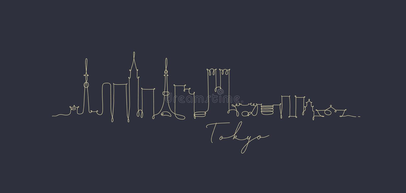 Pen line silhouette tokyo dark blue. City silhouette tokyo in pen line style drawing with beige lines on dark blue background vector illustration