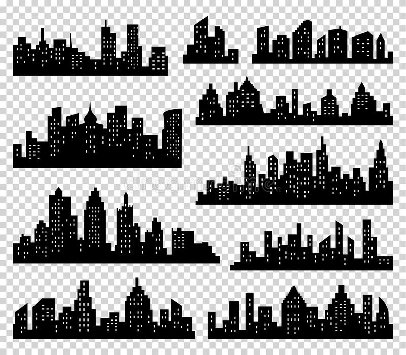 City silhouette vector set. Panorama background. Skyline urban border collection. Buildings with windows stock illustration