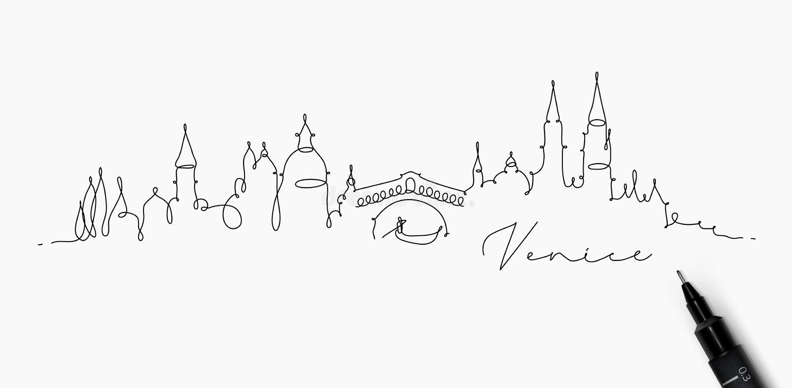 Pen line silhouette venice. City silhouette venice in pen line style drawing with black lines on white background stock illustration