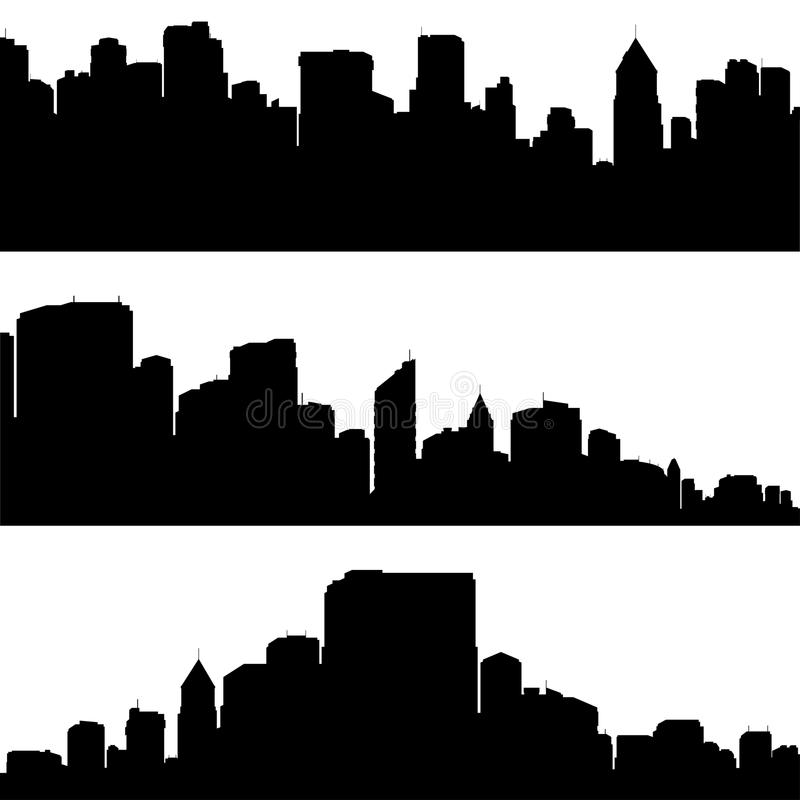 Download City silhouettes. stock vector. Image of black, graphic - 10469547