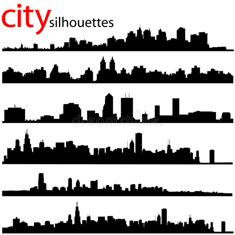 City silhouettes vector royalty free stock photography