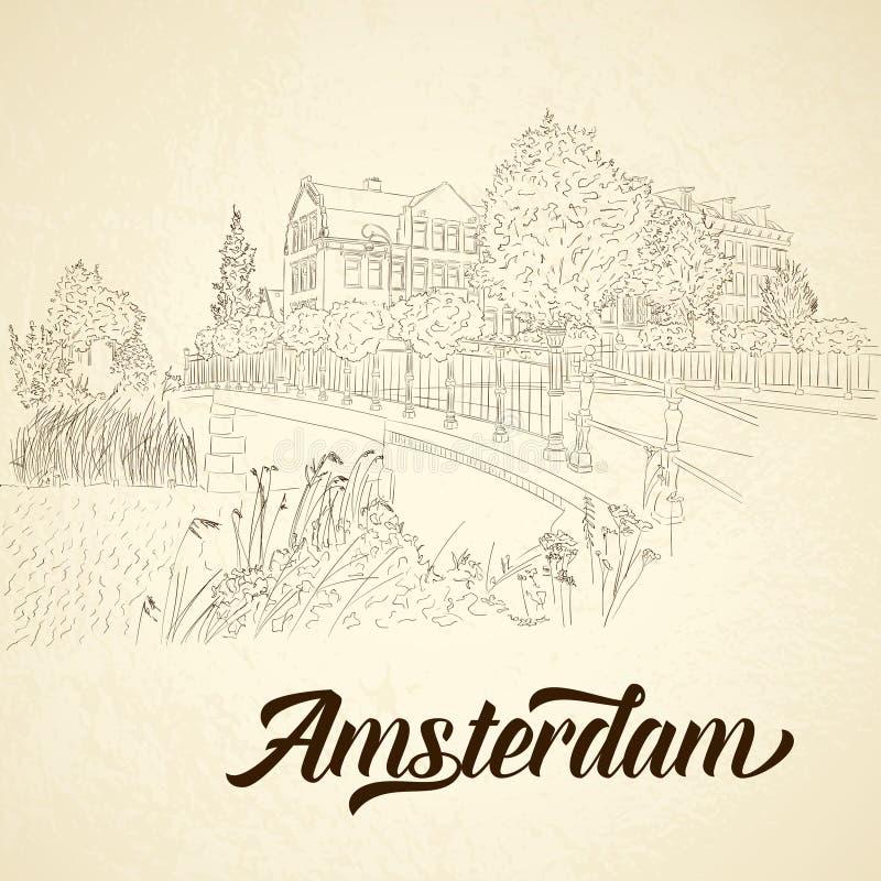 City sketching on vintage background. Amsterdam, vector illustration