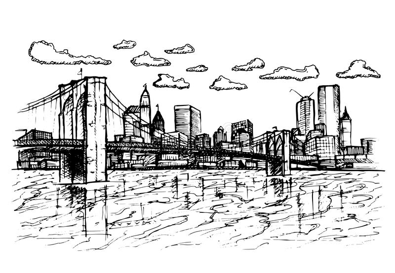 City sketchy on white background. royalty free illustration