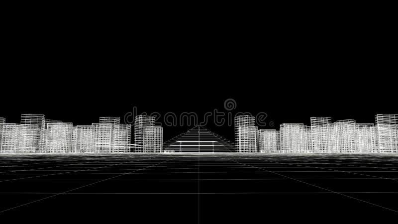 City Sky Line Wire Frame royalty free stock photos