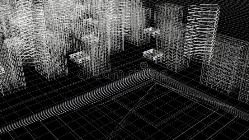 City Sky Line Wire Frame Above View stock photos
