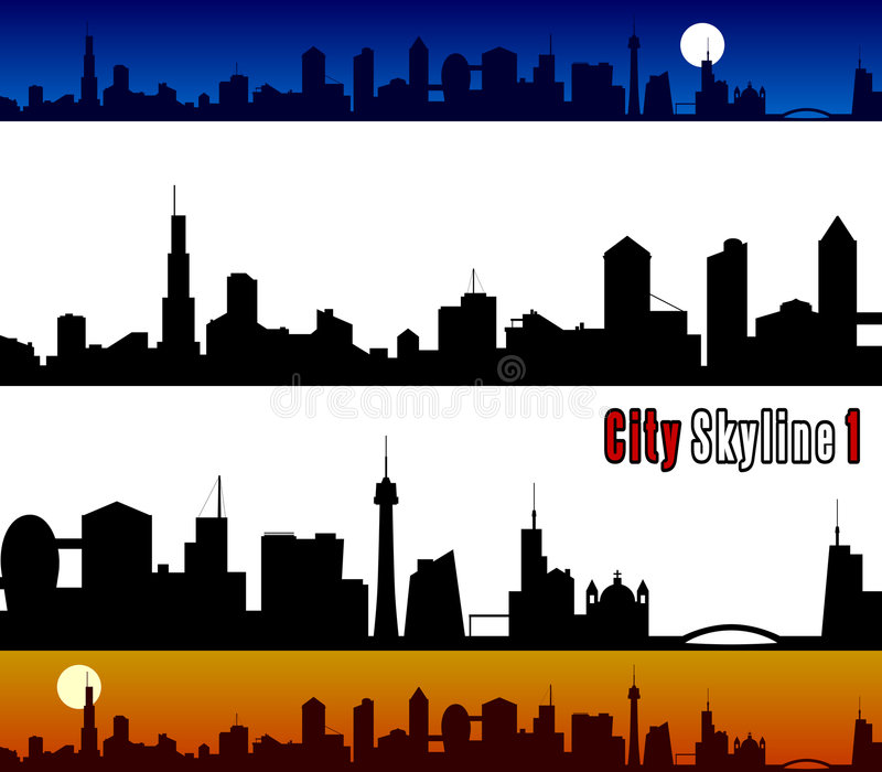 City Skyline [1]. Generic silhouette of a city skyline. Two banners (day and night) and two silhouettes perfectly attachable isolated on white background. Eps