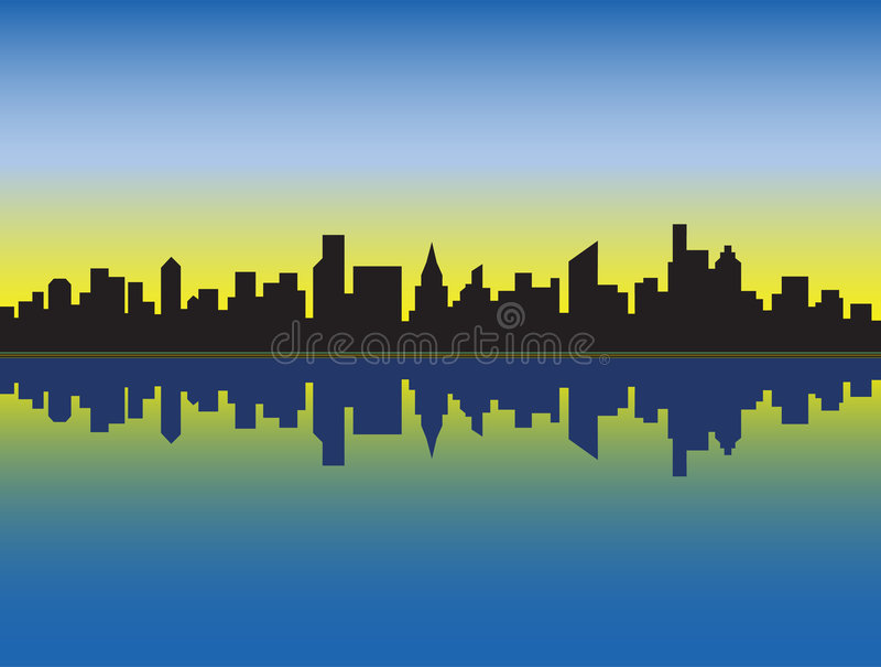 Download City Skyline stock vector. Image of metro, sunrise, uptown - 2298814