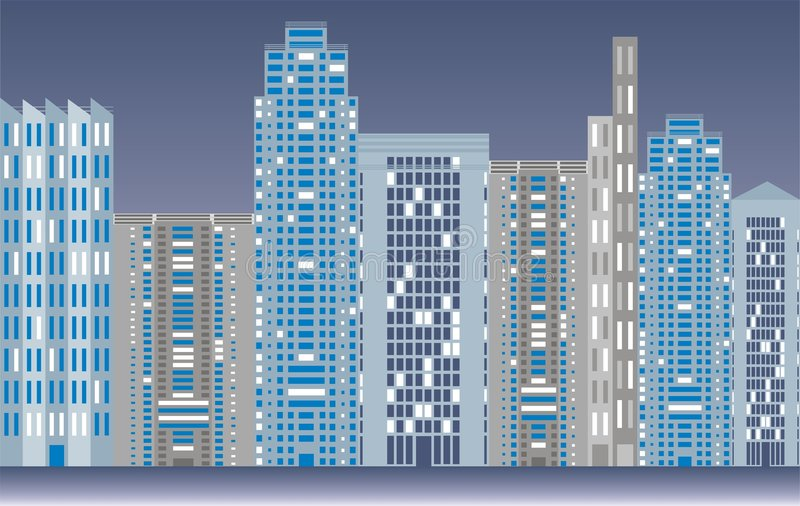 City skyline. Illustration of city skyline at night