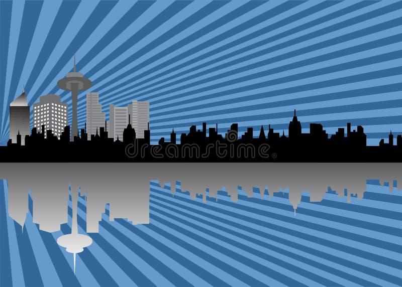 City skyline. Urban skyline with tall buildings