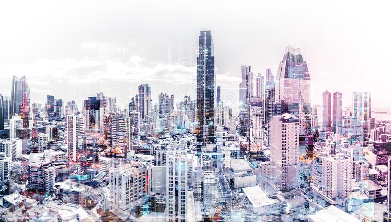 City skyline aerial abstract cityscape modern city background stock photography
