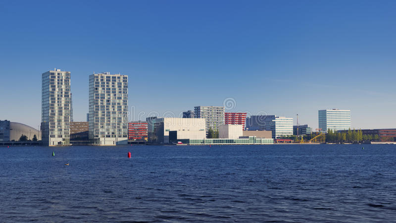 City skyline. Skyline of Almere, Netherlands. Almere is the youngest and fastest growing city in the country, founded around 1975 royalty free stock images