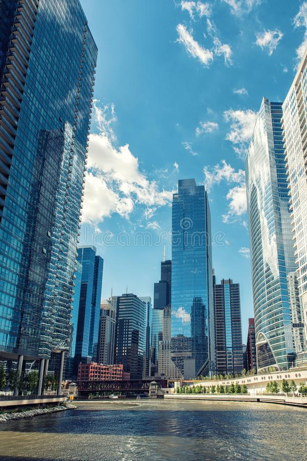 The city skyline along the Chicago River in Chicago stock images