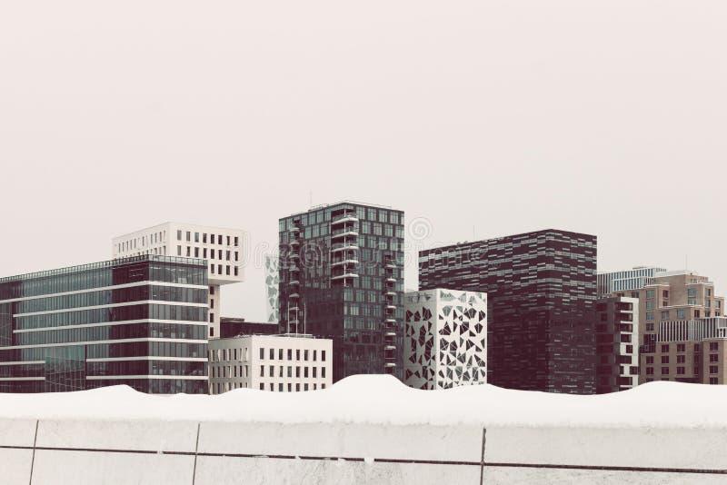 The city skyline of Bjorvika in Oslo/Norway. The city skyline of Bjorvika in Oslo/Norway during wintertime stock photography