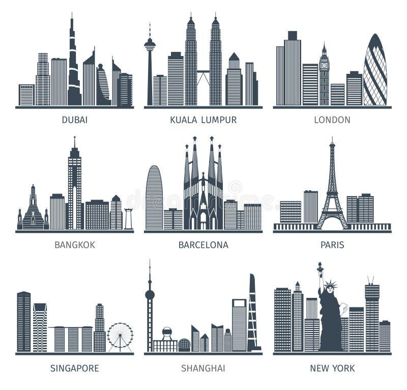 City skyline black icons set vector illustration