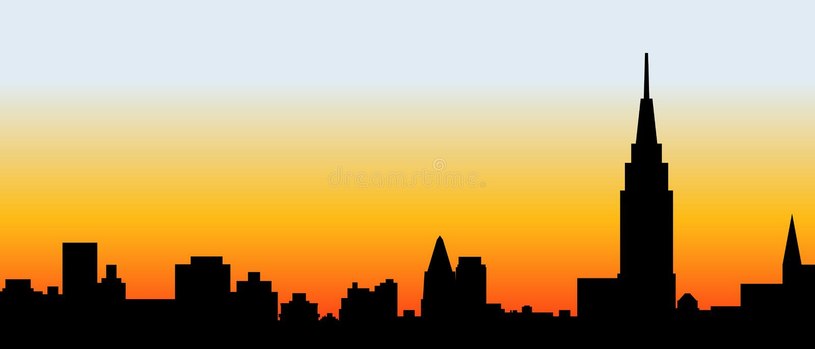 City skyline black silhouette vector illustration. royalty free stock images