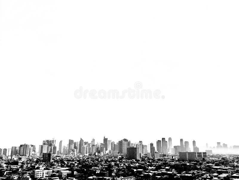 City skyline black and white royalty free stock photo
