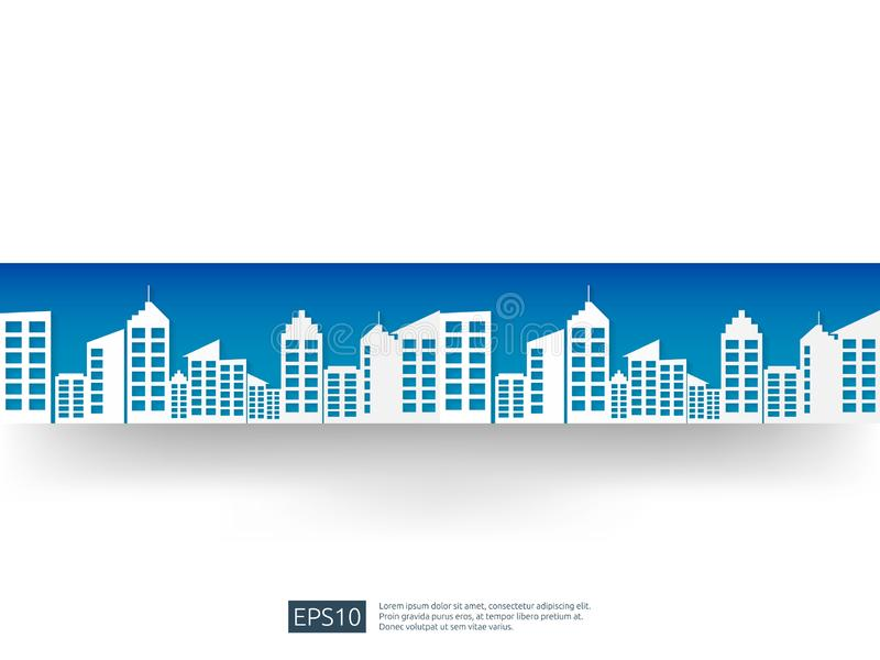 city skyline with blue sky landscape . business urban skyscraper background. cityscape building paper art flat style. city view ba stock illustration