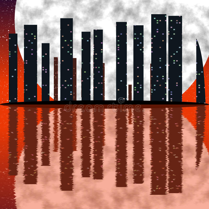 City skyline at full moonCity skyline with fullmoon. Abstract image of the city skyline at full moon vector illustration