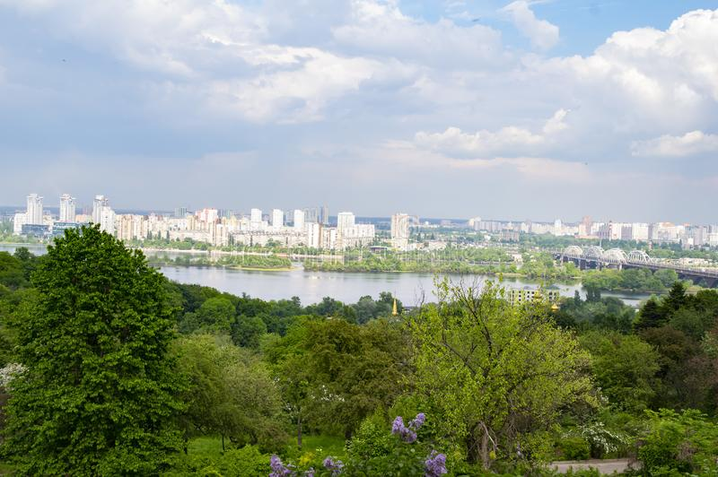 City skyline of Kiev from the height of bird flight under the clouds stock photos