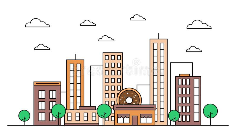 City skyline landscape design concept with buildings, scyscrapers, donut shop cafe,clouds,trees. Vector, graphic illustration. stock illustration